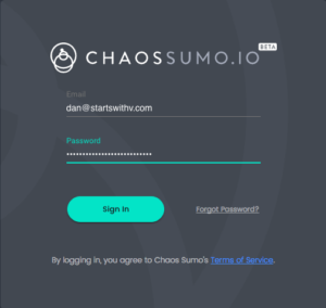 Chaos Sumo Beta Login Screen